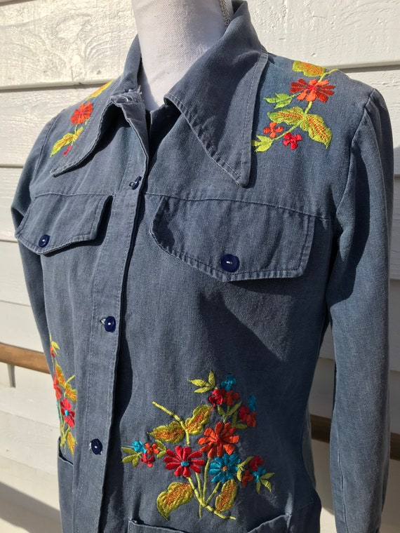 1970's Embroidered Denim Shirt - image 2