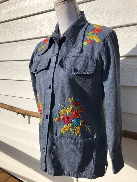 1970's Embroidered Denim Shirt - image 7