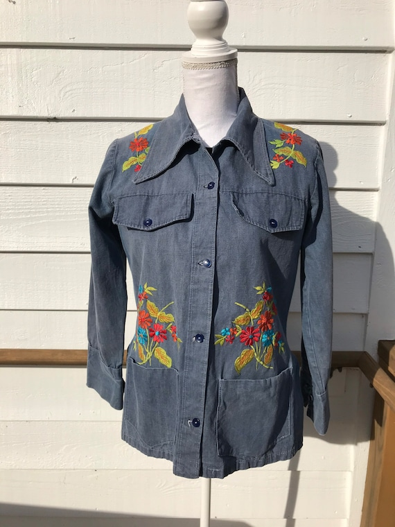 1970's Embroidered Denim Shirt - image 1