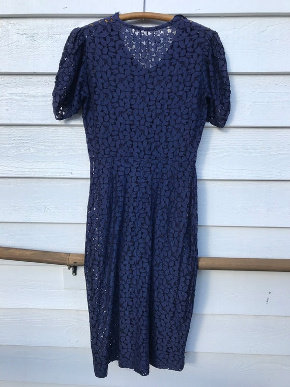 1930's Navy Blue Lace Dress