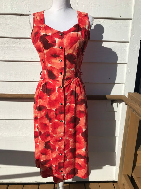 1950's Poppy Print Sun Dress