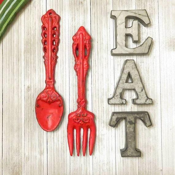 Küche-Wand-Dekor Küche Kunst Essen Wand Buchstaben Gabel
