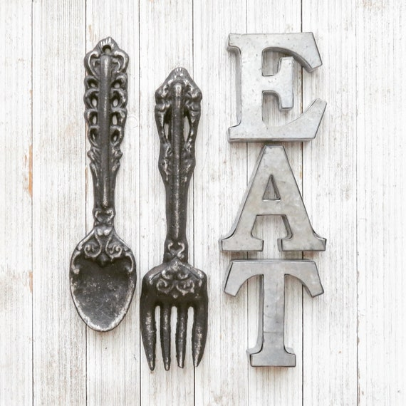 Kitchen Wall Decor, Rustic Home Decor, Kitchen Wall Art, EAT Wall Letters,  Fork,Spoon, EAT Sign, Shabby Chic Rustic Kitchen Decor