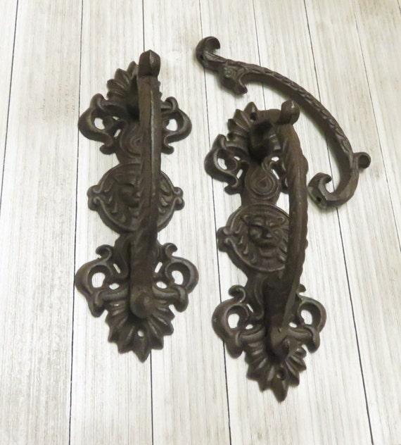 image 0 - TWO Vintage Wrought Iron Lion Head Door Handle Door Handle Etsy