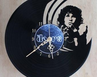 Handcarved Jim Morrison The Doors vinyl record clock, record clock, vinyl art clock, vinyl wall clock, record wall clock, vinyl record clock