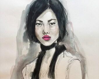 Cool pink lips, original watercolor fashion illustration