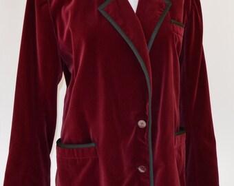 ea747f49576 1980 YVES SAINT LAURENT velvet burgundy blazer / 80s / ysl vintage / yves  saint laurent blazer / velvet blazer / rive gaushe /