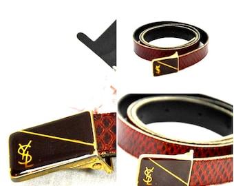 cf61043c41e S . A. L . E 1980 Yves Saint Laurent belt / YSL / YSL belt / brown belt /