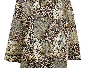 b3ac3e699e761 Escada vintage jacket   Leopard jacket Escada   Animal print jacket  Jungle  print trench   Escada leopard print   Oversised jacket