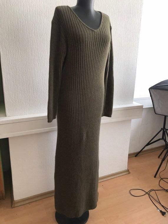 Vintage khaki maxi dress , V neck , angora , large