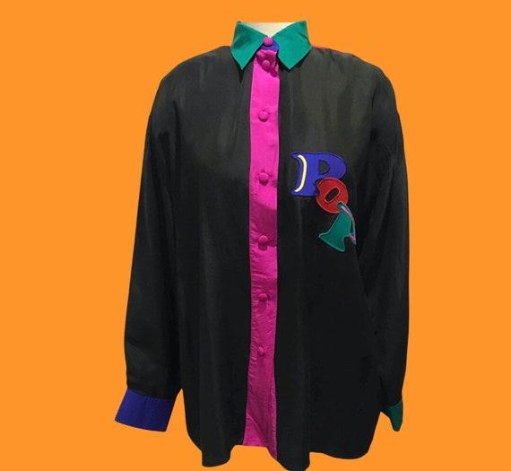 Color block silk shirt / 100 % silk shirt / 1980 s