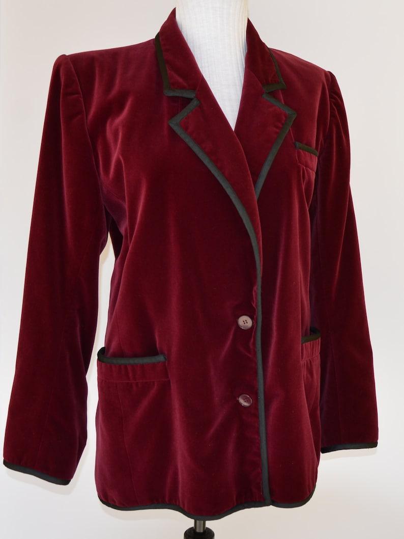 2832196ab6e 1980 YVES SAINT LAURENT velvet burgundy blazer / 80s / ysl   Etsy