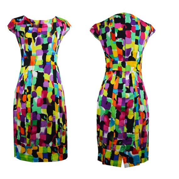 Cool multicolor vintage dress / Multicolor dress v