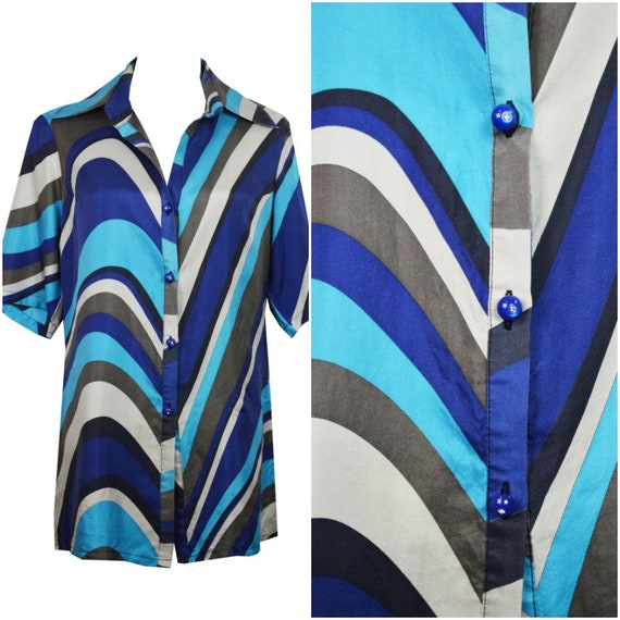 Silk multicolor shirt / Silk blue shirt / Multicol