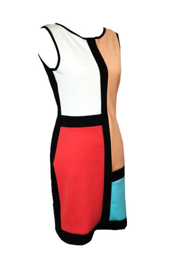 Sold / Mondrian style vintage dress / Multicolor v