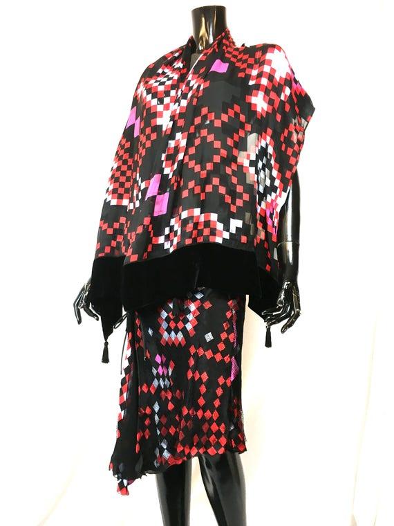 silk scarf ARMANI silk huge and skirt from skirt vintage emporio silk huge 1990 armani small armani size scarf set g5dwxUU