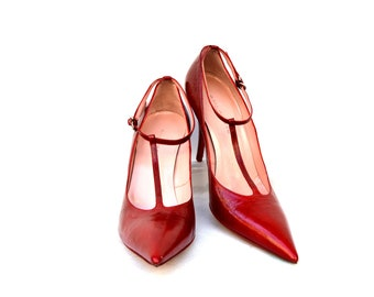 Red Leather shoes / leather heels / red heels / size 39