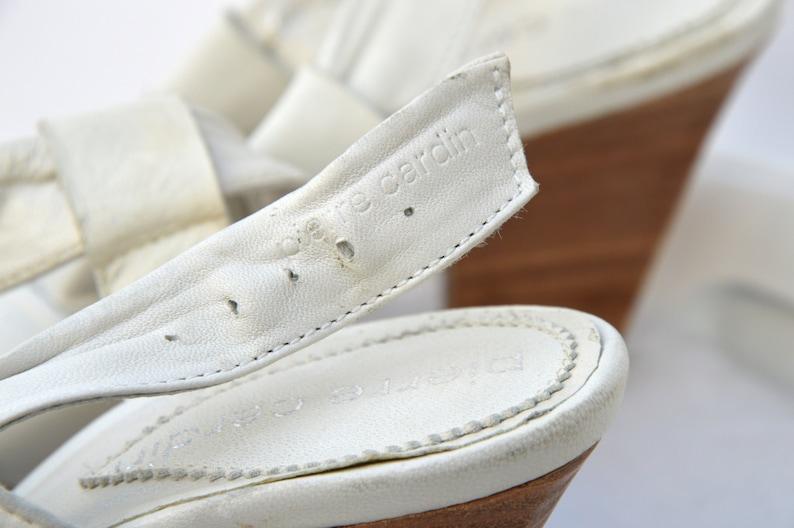 70s PIERRE CARDIN shoes  sandals  never worn  vintage Pierre Cardin  Audrey Hepburn shoes  leather sandals  ecru sandals  37 size