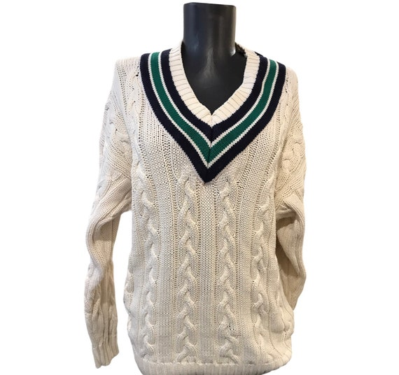 Vintage badminton cable knit jumper