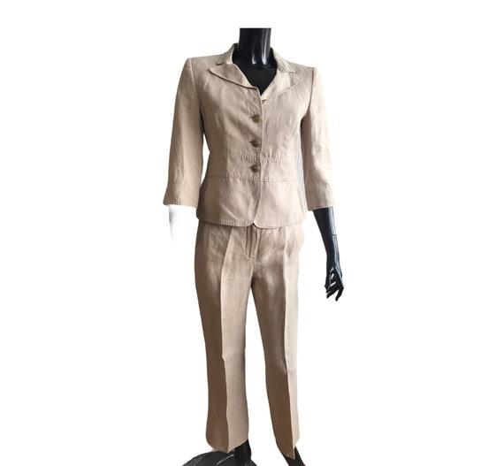 Max Mara vintage linen suit , pants suit , pure li