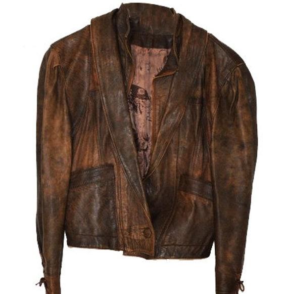 Genuine leather vintage HIPSTER TRENDY jacket /