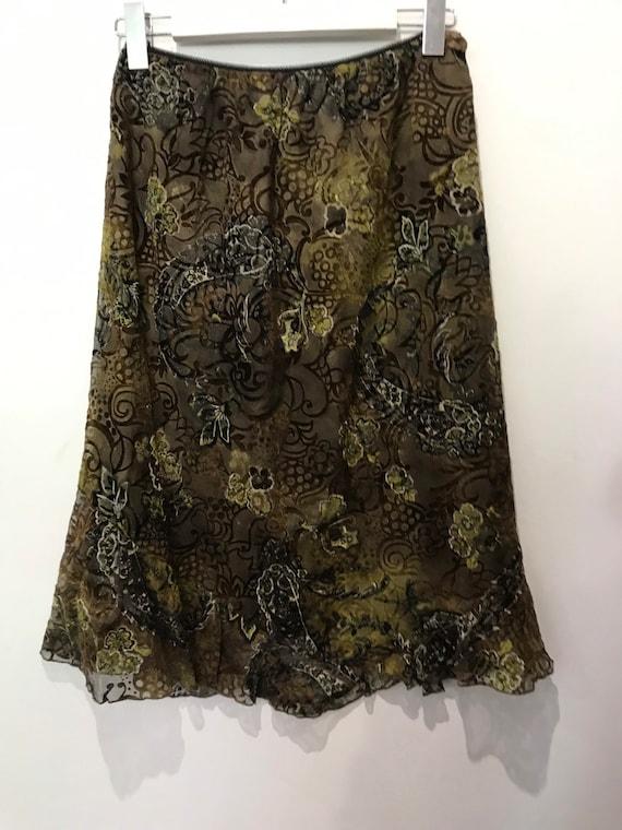 Vintage devore silk midi skirt , L size , 100 % si