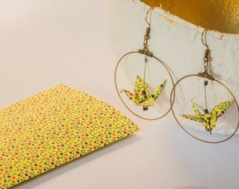Earrings slip in silver hoop earrings gold, mustard yellow origami cranes copper or bronze