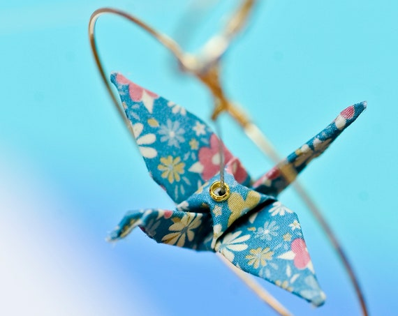 Origami cranes earrings blue and red flowers liberty patterns