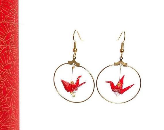 Boucles d'oreille origami, oiseau rouge et or, créoles dorées
