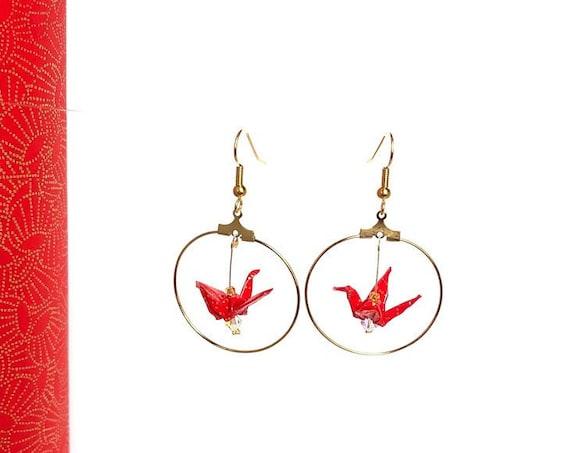 Origami bird red hoop earrings gold fan patterns