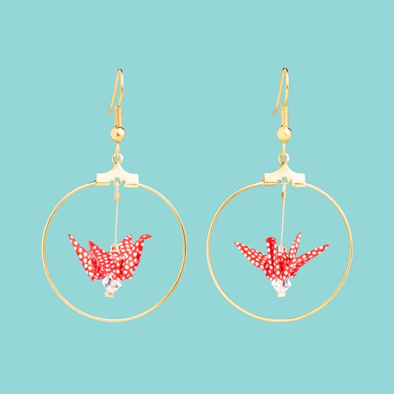 Red origami red cranes hoop earrings polka dots