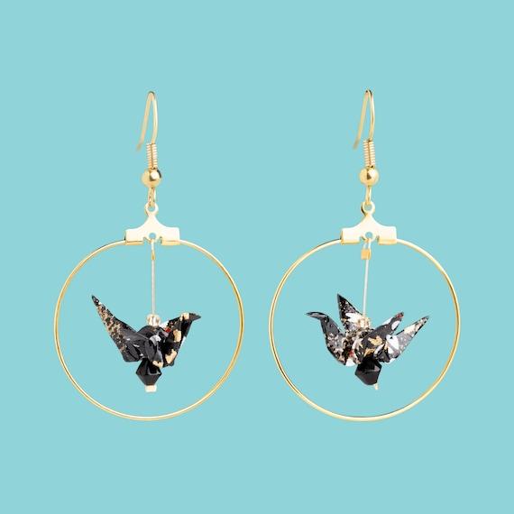 Boucles d'oreille origami, papier washi, oiseaux, motifs fleurs noires blanches et or