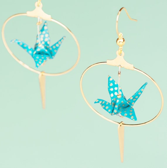 Origami cranes goldplated hoop earrings turquoise blue with golden polka dots