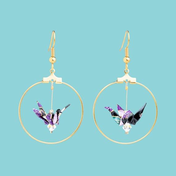 Purple origami cranes hoop earrings plum tree flowers