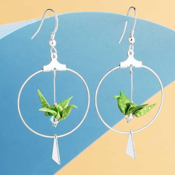 Green origami cranes hoop silver plated earrings