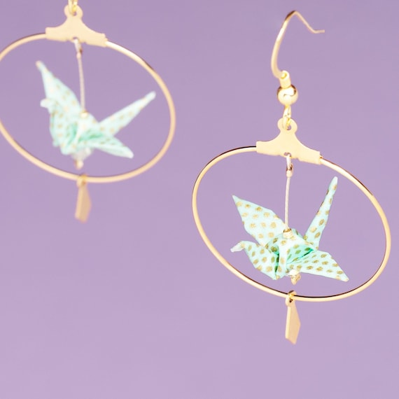 Gold plated origami cranes hoop earrings turquoise blue polka dots