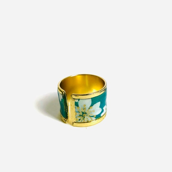 Blue and gold ring flowers pattern japanese paper waterproof resin curved edge adjustable size large design