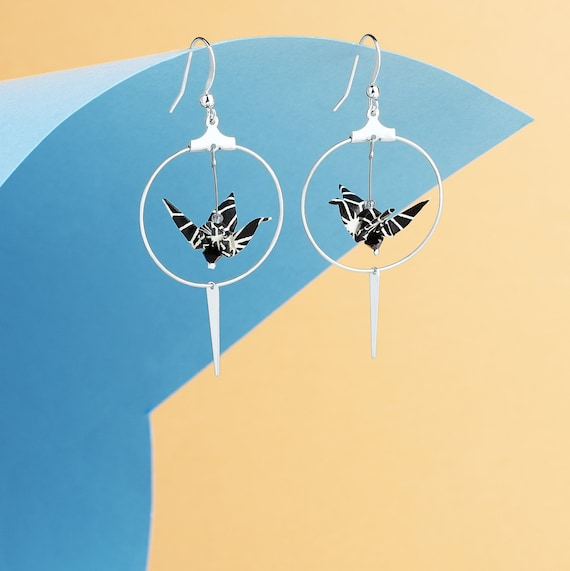 Origami cranes hoop earrings black and white silver plated