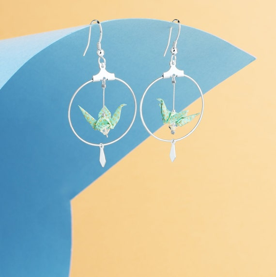 Origami jewelry cranes silver hoop earrings turquoise