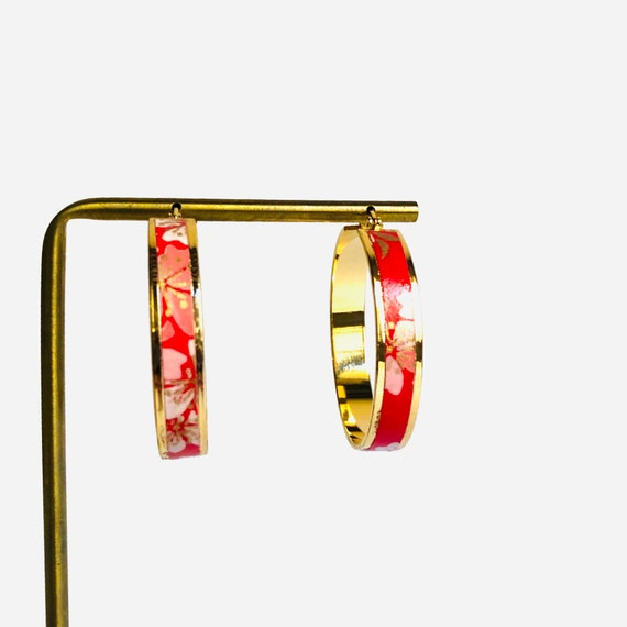 Washi bohemian hoop earrings with flower patterns