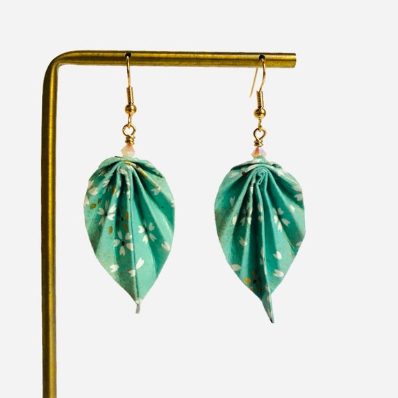 Origami leaves turquoise and white earrings