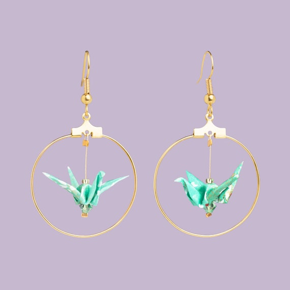 Turquoise blue and white origami bird hoop earrings