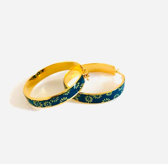 Green or blue bohemian hoop earrings