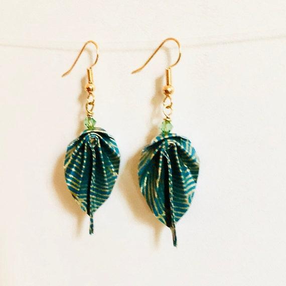 Origami leaves golden brass earrings green and golden waves
