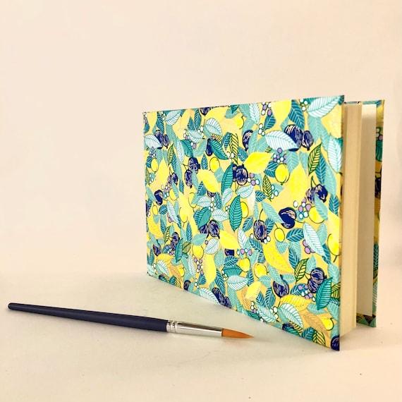 Carnet couverture papier japonais, format paysage, carnet de notes ou à dessin