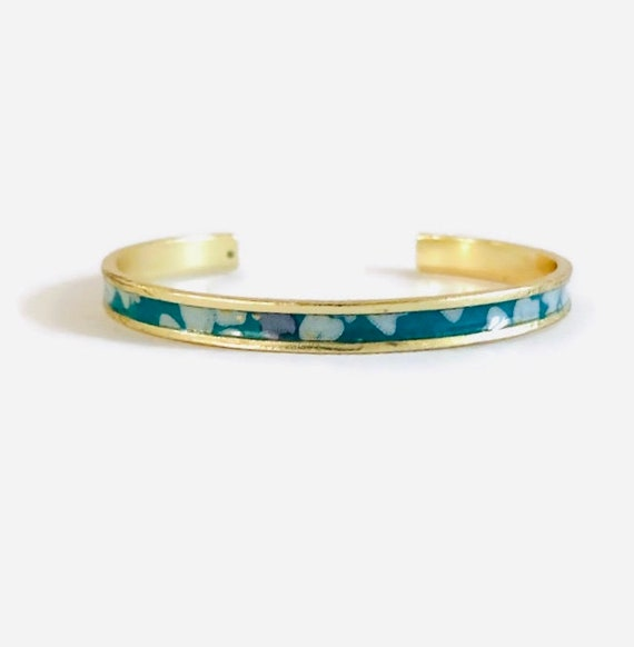 Turquoise washi bracelet with flower patterns