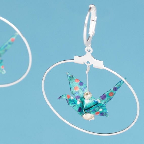 Origami birds hoop earrings turquoise blue with colorful polka dots 3cm lever backs hooks