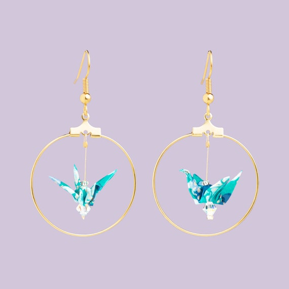 Turquoise blue and white flower origami bird hoop earrings