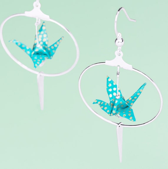 Silver plated blue origami crane hoop earrings turquoise