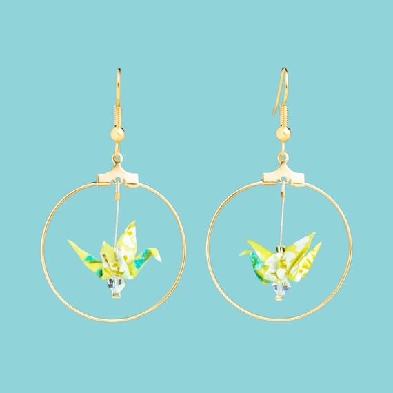 Yellow white and green origami bird hoop earrings
